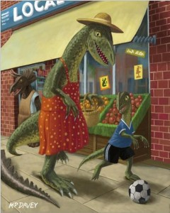 """Dinosaur Mum Out Shopping With Son"""