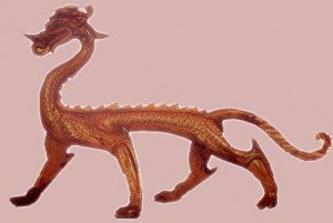 Bronze Dragon Tang Dynasty Red & Gold