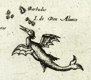1595 Sea Chart Flying Sea Monster