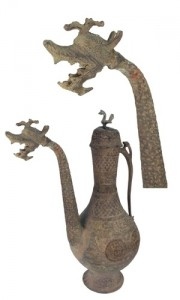 Bronze Lid Persian Dragon Vessel
