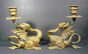 European medieval Dragon Candlesticks