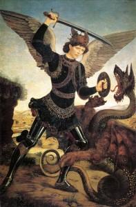 michael-and-the-dragon by Antonio del Pollaiuolo
