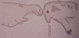 Dinosaur-Fights-Mammoth-drawing-300x147.jpg