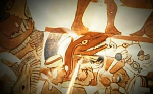 Maya dinosaur head being carried to sacrifice - Bonampak
